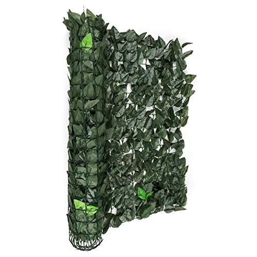 Blumfeldt Fency Dark Leaf - Clôture Pare-Vue, Clôture Brise-Vue, Paravent, Montage Simple et Rapide, Grillage métallique enrobé de Plastique, Attaches Vertes incluses, Mélange Vert foncé
