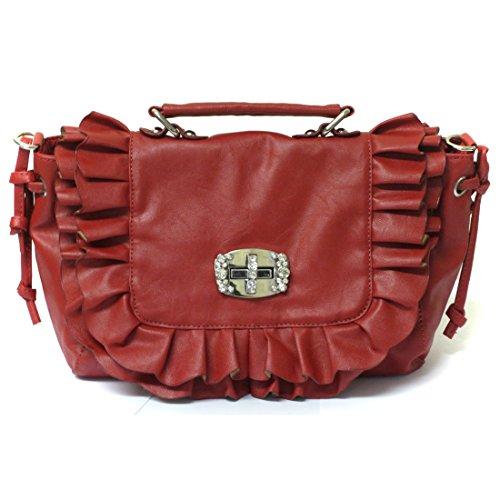 Zarla-Borsa in pelle sintetica da donna a tracolla, maniglia con cristalli, a forma di borsetta Rosso (rosso)