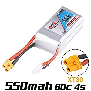 FancyWhoop GNB 550mAh 4S LiPo Battery 14.8V 80C Rechargeable Battery XT30 Plug Connector for FPV Racing Drone RC Quadcopter Airplane from FancyWhoop