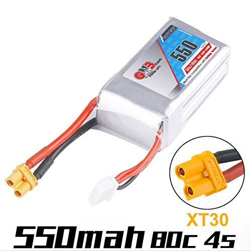 GNB 550mAh 4S LiPo Battery 14.8V 80C Rechargeable Battery XT30 Plug Connector for FPV Racing Drone RC Quadcopter Airplane