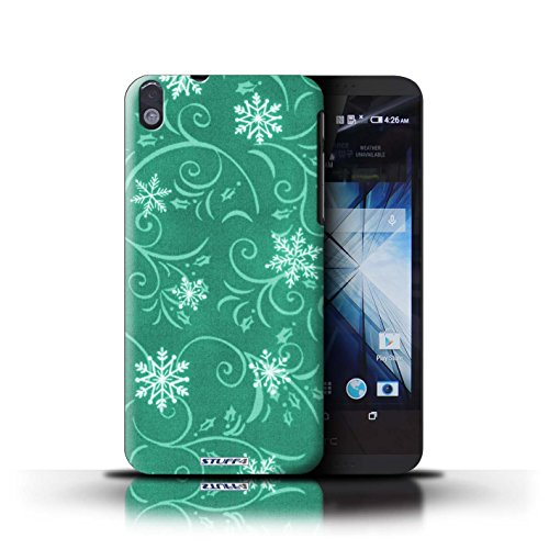 Kobalt® Imprimé Etui / Coque pour HTC Desire 816 / Vert conception / Série Motif flocon de neige Turquoise
