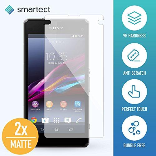 [2x MAT] Protection d'Écran en Verre Trempé pour Sony Xperia Z1 Compact de smartect® | Film Protecteur Ultra-Fin de 0,3mm | Vitre Robuste avec 9H de Dureté et Revêtement Anti-Traces de Doigts