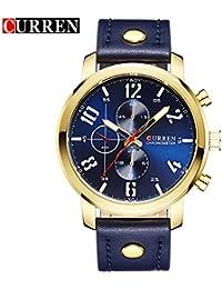 Curren nueva moda Casual reloj de cuarzo reloj de pulsera de los hombres de la gran esfera resistente al agua de color azul 8192G