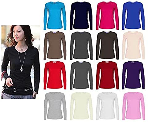 Ladies Womens Plain Long Sleeve Round Neck Top UK Sizes