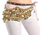 Dancina Cintura in Velluto Sciarpa per Danza del Ventre Orientale 310 Monete d'oro Pink