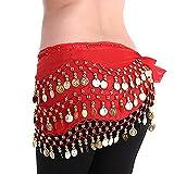 YiLang Ceinture Danse Orientale Femme Fille Foulard Danse du Ventre Belly Dance Soie Foulard à Sequin Écharpe Déguisement (Rouge)...