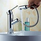 Hlluya Wasserhahn für Waschbecken Küche Alle Kupfer heiße und kalte Silber Becken ziehen Wasserhahn antiken Tisch Becken Tabelle ausziehbaren Wasserhahn,