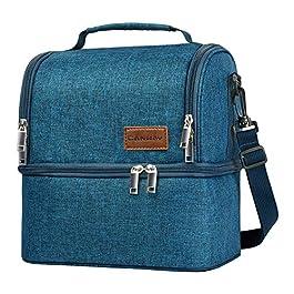 CANWAY Borsa Pranzo Borsa Frigo Impermeabile 2 Scomparti Borsa Termica capacità da 8L con Tracolla Rimovibile Lunch Bag…