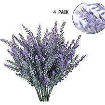 GKONGU Pure Lavanda Artificial Flores romántico nieve de lavanda Ideal para decoración del hogar habitación Garden Party boda mostrar [4 Paquetes]