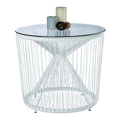 Relaxdays Table basse fil cordes ronde plateau verre appoint design RAYA balcon salon moderne HxD: 46 x 55 cm, blanc