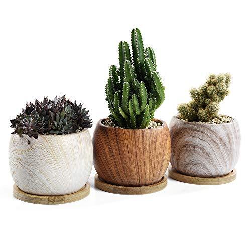 SUN-E Runde Holzmaserung Serial Ceramic Succulent Töpfe Kaktus Pflanzer Flower Pot Container mit Bambus Tablett Drainage perfekte Geschenkidee 3 im Set (9 cm) (9 Stück Runder Esstisch Set)
