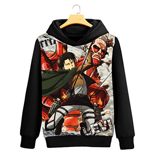 Cosstars Attack on Titan AOT Anime Kapuzenpullover Sweatshirt Cosplay Kostüm Hoodie Mantel Pulli Sweater Schwarz 11 XL (Titan Kinder Attack Für On Kostüme)