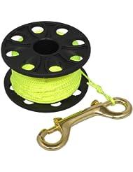 Carrete spool compacto de mano - Para submarinismo - Cuerda amarilla - 50,9 m