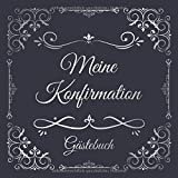 Meine Konfirmation Gästebuch: Erinnerungsbuch Album - Edel Geschenkidee zum Eintragen und Ausfüllen von Glückwünschen für den Konfirmand / ... Motiv: Vintage Blau Silber Ornamente