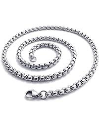 KONOV Joyería Collar de hombre, 4.5mm Link, Cadena Longitud Opcional, Acero inoxidable, Color plata (con bolsa de regalo)