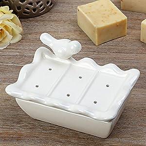 KHSKX Pajarito cerámica Jabonera jabón jabón Caja Plato de jabón de Ducha Agua