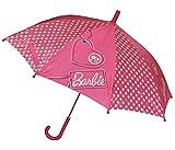 Unbekannt Schirm Barbie - Kinderschirm 65 cm lang - für Kinder Stockschirm Regenschirm - rosa Puppen Mädchen pink Puppe Punkte pink