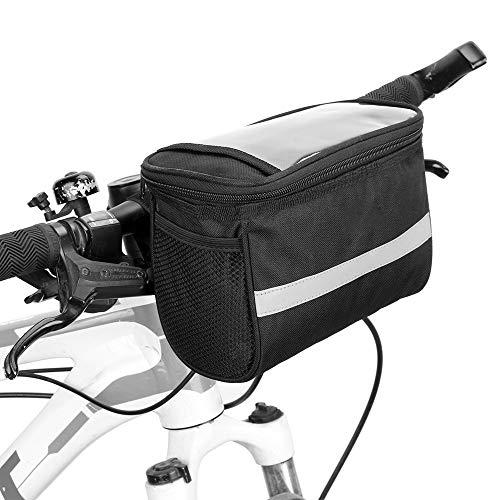 Lixada Fahrrad Lenkertasche Isoliert Fronttasche MTB Lenkertasche Korb Gepäckträger Kühltasche mit Reflektierend Streifen
