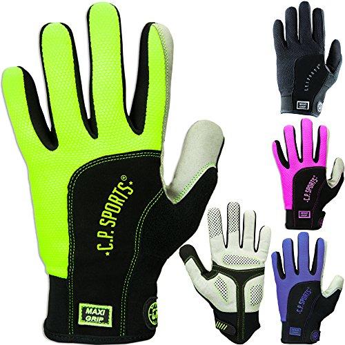 Lauf Handschuh, Fahrradhandschuh, Running Handschuhe, Sporthandschuhe, Laufen, Training,Vollfinger, Maxi Grip, C.P. Sports (S, Neongelb)