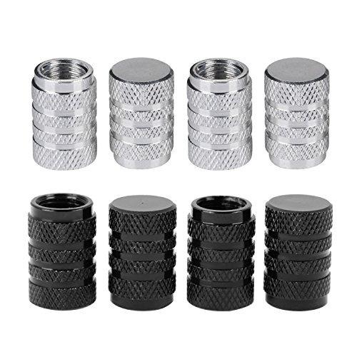 Tapas de Válvulas de Neumático de Coche Tapones de Válvulas de Rueda Tapa de Neumático a Prueba de Polvo, Plateado y Negro, 8 Piezas