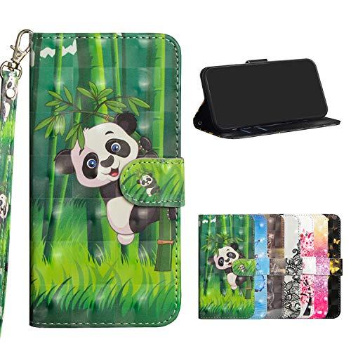 Misstars Coque en Cuir PU pour Huawei P Smart/Enjoy 7S, Housse à Rabat Portefeuille Etui de Protection 3D Motif Panda et Bambou avec Fonction Support Magnétique Portables Case