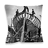 World War II : Ship Building. - 40x40cm Premium Feather Filled Faux Suede Cushion - Art247