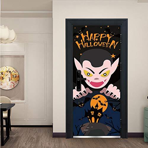 Scary Dämon Castle Bat Aufkleber Wand Fenster Tür Schlafzimmer Wohnzimmer Wohnkultur Raumdekoration PVC Selbstklebende Tür Wandbild 77X200 cm ()