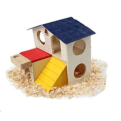 emours Pet Small Animal Hideout Hamster House Deluxe Two Layers Wooden Hut Play Toys Chews with Natural Wood Chips 3