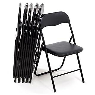 Bricok Lot de 6chaises Pliantes Slim en métal, chaises pour Bureau Maison Camping Jardin, avec Assise rembourrée Confortable, 44x 44x 78cm, Noir