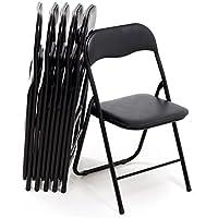 Bricok Juego de 6sillas Plegables Slim de Metal, sillas para Oficina casa Camping jardín, con cómoda Asiento Acolchado, 44x 44x 78cm, Color Negro