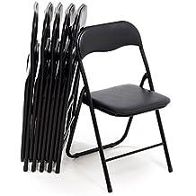 Bricok Juego de 6 sillas Plegables Slim de Metal, sillas para Oficina casa Camping jardín