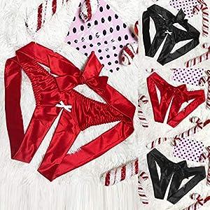 Marico NahumFrauen Satin Silk Bowknot Briefs G-String Thong Crotchless Dessous Nachtwäsche