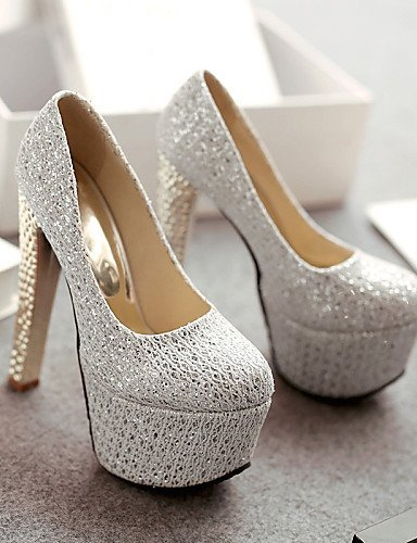 ShangYi Chaussures Femme - Mariage / Habillé / Soirée & Evénement - Argent / Or - Gros Talon - Talons / Bout Arrondi - Talons - Similicuir Silver