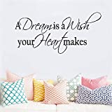 stickers muraux voiture 3d A Dream Is A Wish Your Heart Makes For Bedroom Living Room