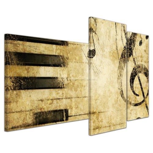 Wandbild - Grunge Musik - Bild auf Leinwand - 130x80 cm 3 teilig - Leinwandbilder - Bilder als Leinwanddruck - Urban & Graphic - stilvolle Komposition mit Musikelementen (Leinwand Bilder Musik)
