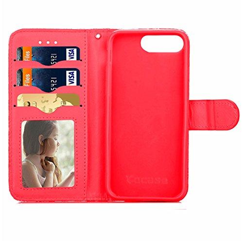 iPhone 7 Plus Coque, Apple iPhone 7 Plus Coque, Lifeturt [ Jaune ] Motif Pure Couleur Housse en Cuir Case à Avec La Fonction Stand Coque de Intérieure Protection Souple Coque Portefeuille TPU Silicone E2-Rouge