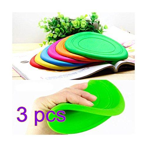 KEOIWDIE Faltbare Hundetraining Spielzeug Frisbee Flying Disc Tooth Resistant Outdoor Große Hund Haustier Fetch Spielzeug (3 Stück zufällige Farbe) -