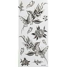 Fleurs noires et des tatouages temporaires papillon