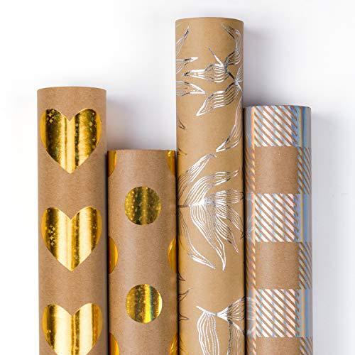 Geschenkpapierrolle - Gold Star Shiny Und Silber Rainbow Shiny Papier Für Hochzeit, Geburtstag, Dusche, Glückwunsch Und Weihnachtsgeschenke - 4 Rollen - 76Cm X 305Cm Pro Rolle ()