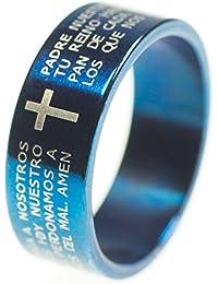 0b272428ac67 Unisex Anillo de acero inoxidable con Española Padre Nuestro oración Biblia  Jesús Cruz Crucifijo – Banda