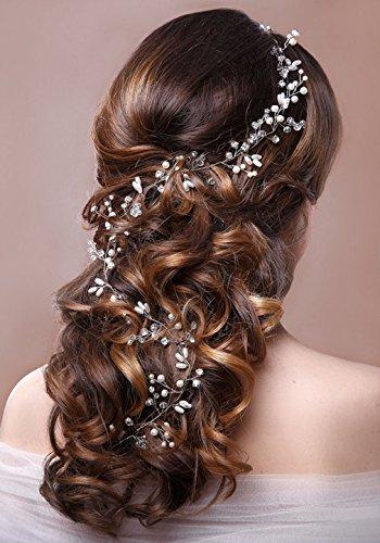 aukmla Strassbesatz Haarband und Stirnband mit Kristall, Fashion Zubehör für Frauen und Mädchen (Silber)