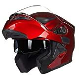 oubaiya Casco integrale per moto con doppia visiera, parasole, pieghevole, omologato DOT