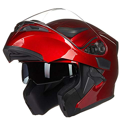 oubaiya Casco integrale da moto con doppia visiera parasole, modulare, omologato DOT