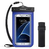 MoKo Wasserdichte Hülle Tasche Beachbag mit Halsband und Armband für iPhone 5 5S 5SE 6 6S Plus, Samsung Galaxy S5 S6 S7 J5 A5, 4-5.7 Zoll Smartphone, Schutzhülle für Strand, Outdoor - IPX8, Blau