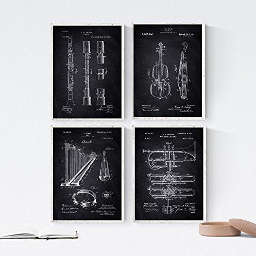 Nacnic Black - Packung mit 4 Blatt mit Patenten Musikinstrumenten. Stellen Sie Plakate mit Erfindungen und Alten Patenten. Wählen Sie die Farbe, die Sie mögen. Gedruckt auf Hochwertigen 250 Gramm