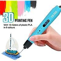 Todoxi Penna per stampa 3D, Kit penna di stampa 3D, Penna Doodle con schermo LED, compatibile con ABS 1,75 mm e PLA per il disegno 3D - Regalo di Natale creativo per bambini/adulti - Blu