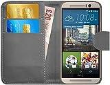 GizzmoHeaven HTC One M9 Leder Hülle Schutzhülle Tasche mit Karte Halter Klappetui Flip Case Cover Etui Brieftasche für HTC M9 mit Schutzfolie und Stylus Stift - Grau