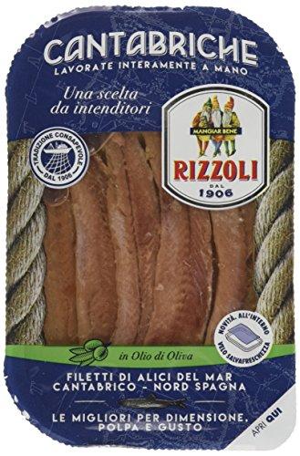 Rizzoli Filetti di Alici Cantabrico Vaschetta in Olio di Oliva - 10 Confezioni da 70 gr.