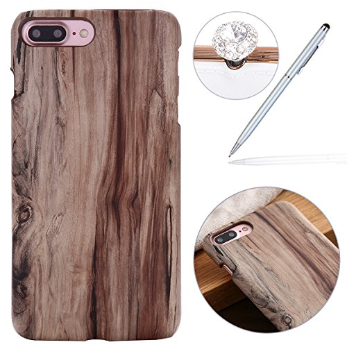 Preisvergleich Produktbild Felfy Hülle für iPhone 7 Plus,iPhone 8 Plus Schutzhülle,iPhone 7 Plus Wood Case,iPhone 7 Plus Hülle Holz Slim Luxury Schutzhülle mit PC Plastic Hart Back Holz Cover Einzigartige Langlebige Dünne Holz Mobile Bumper Holz Tasche Handyhülle Case Passen für iPhone 7 Plus / iPhone 8 Plus + 1x Silver Stylus + 1x Bling Dust Plug [Farbe Random]