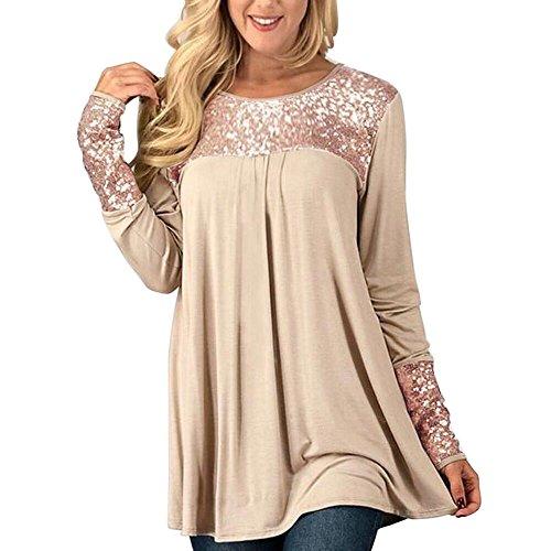 Damen Bluse,EUZeo Frauen Pailletten Tops locker Langarm runder Hals lässige Pullover Shirt (L, Beige-Pailletten) (Runde Baumwolle Lockere Hals)